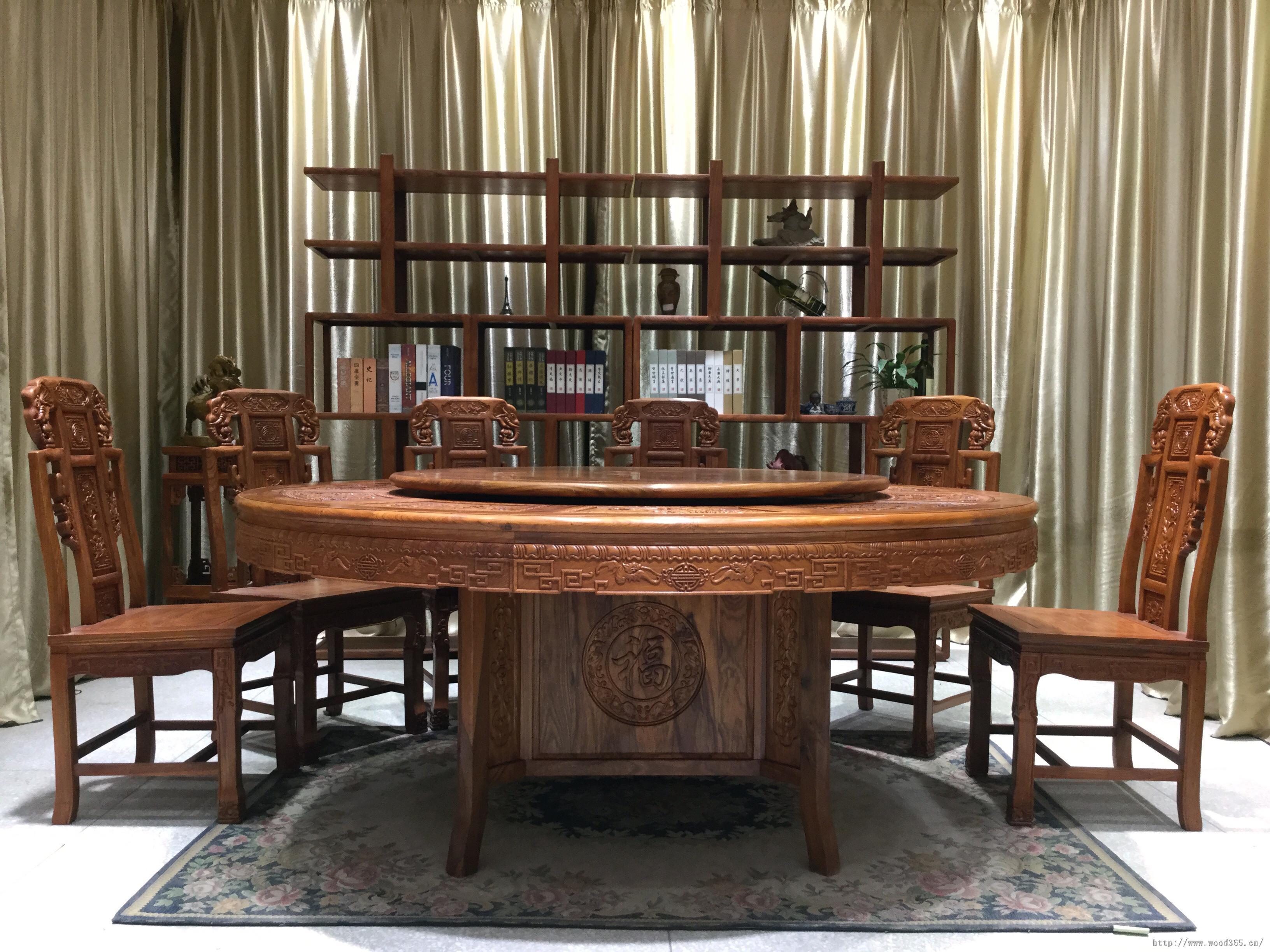 8圆餐桌红木家具实木家居非花缅花酸枝明清古典仿古
