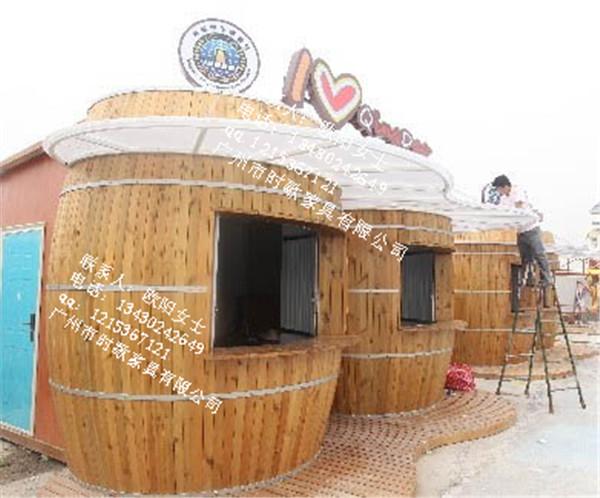 方特游乐园定制酒桶型售货亭