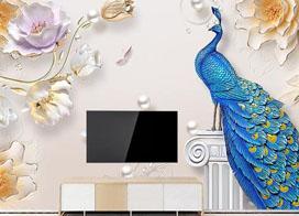 简约浮雕壁画背景墙效果图,立体感十足