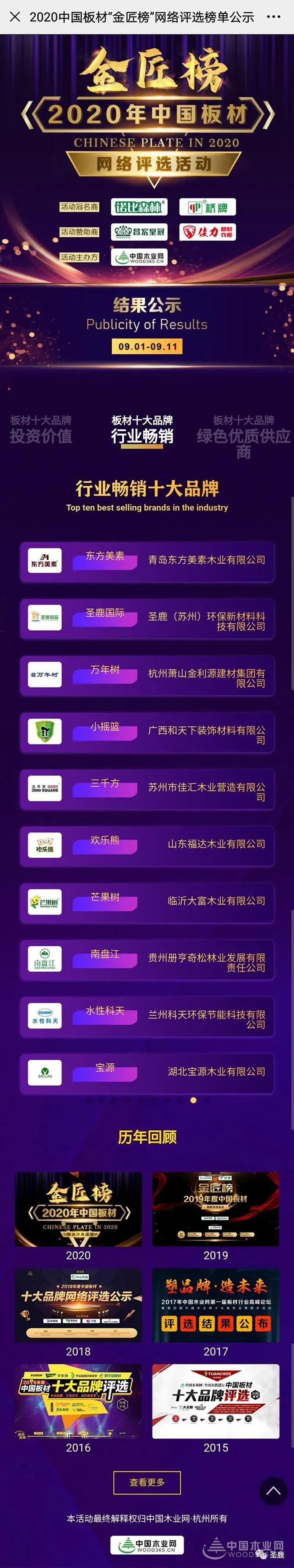 """匠心传承,质胜未来!圣鹿国际荣获""""金匠榜""""行业畅销板材十大品牌"""
