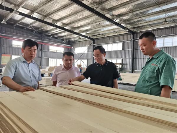 热烈欢迎中国木材保护工业协会会长刘能文一行莅临福庆参李玉洁立马就转身向路边观考察指导