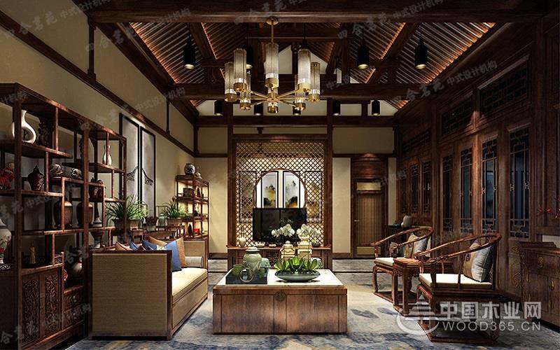 中式元素客厅装修效果图