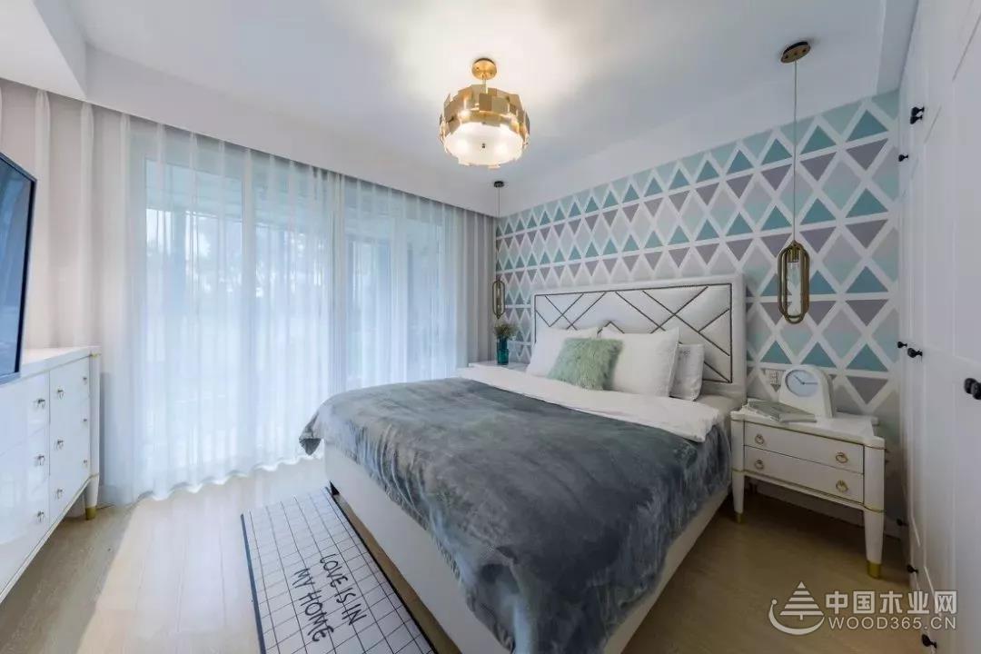 卧室墙面墙衣效果图,卧室贴墙布超美!