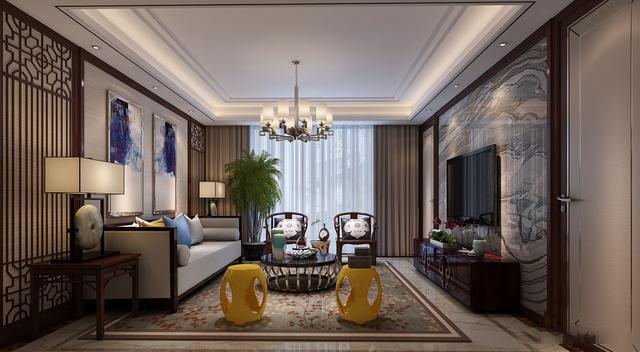 120㎡公寓新中式风格装修效果图