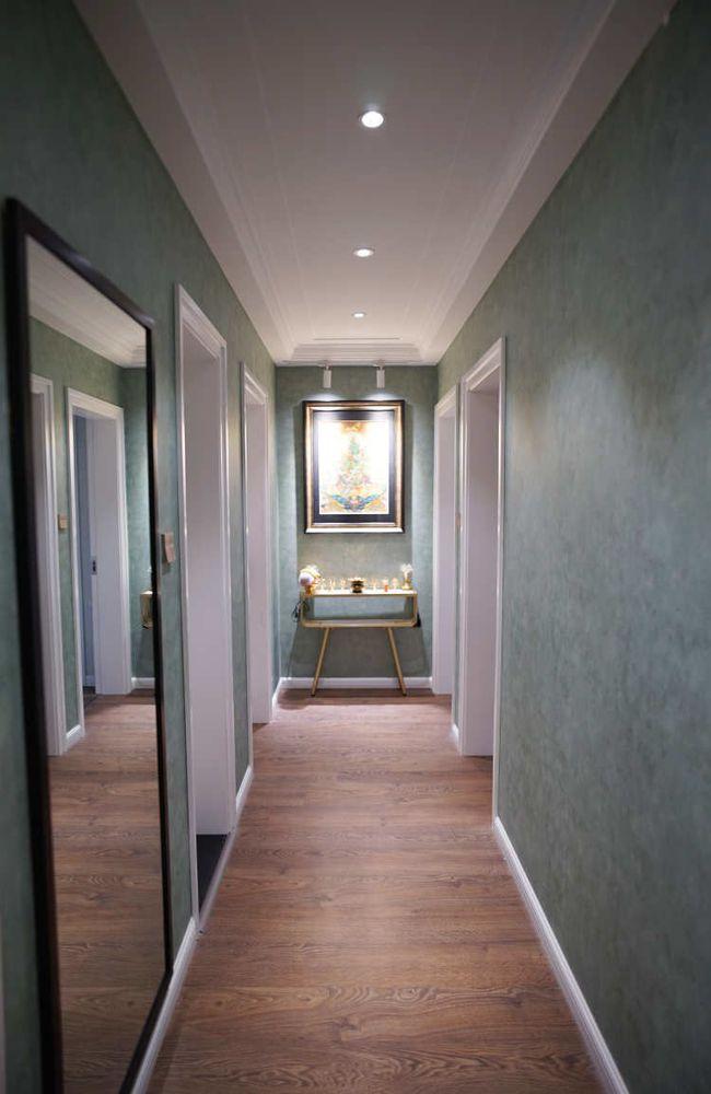 绿色「壁纸加白色家具,新美式装】修很清新
