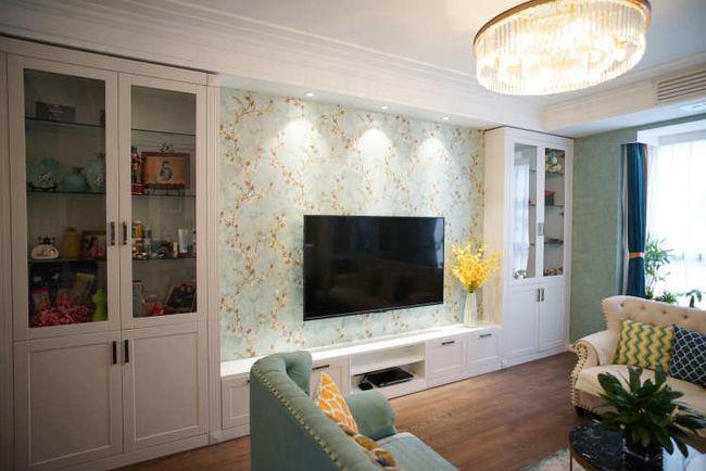 绿色壁纸加白�色家具,新美式装◆修很清新