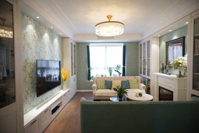 绿色壁〖纸加白色家具,新美式�装修很清新