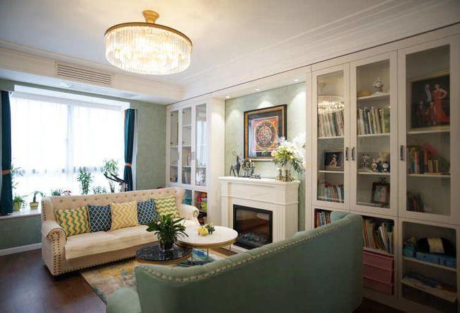 绿色壁纸加白色�v家具,新美式装嗤修很清新