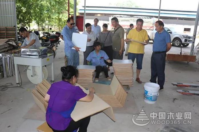 广西林产协会到容县调研板业经济