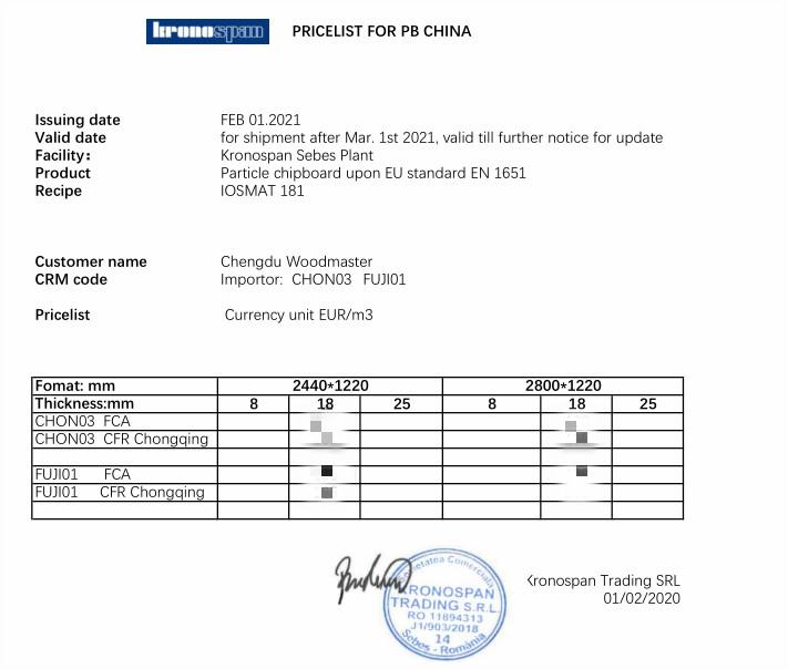 成本暴涨,克诺斯邦板材3月1日再次调价