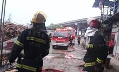 陕西汉中铺镇双庙木材厂起火 消防1小时成功扑灭