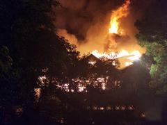 海口花卉大世界内富林木业园区发生火灾