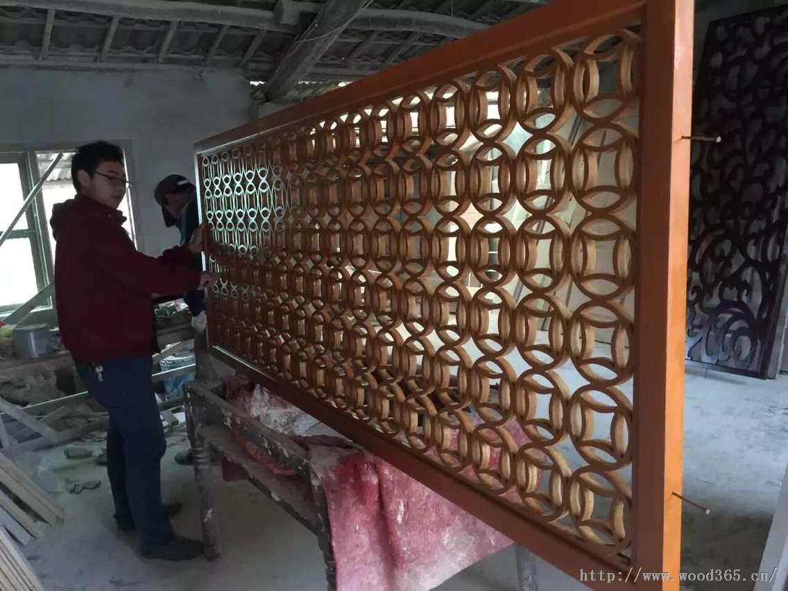实木铜钱花格+中式花格