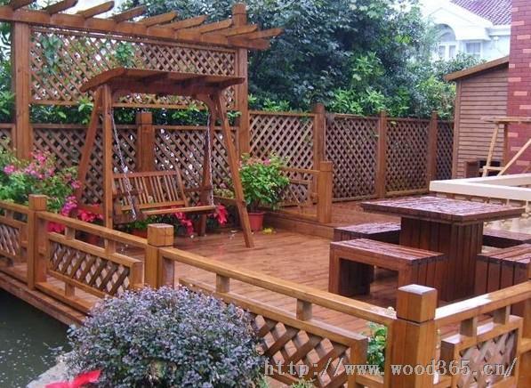 供应庭院防腐木、木栏杆、木秋千15336392177