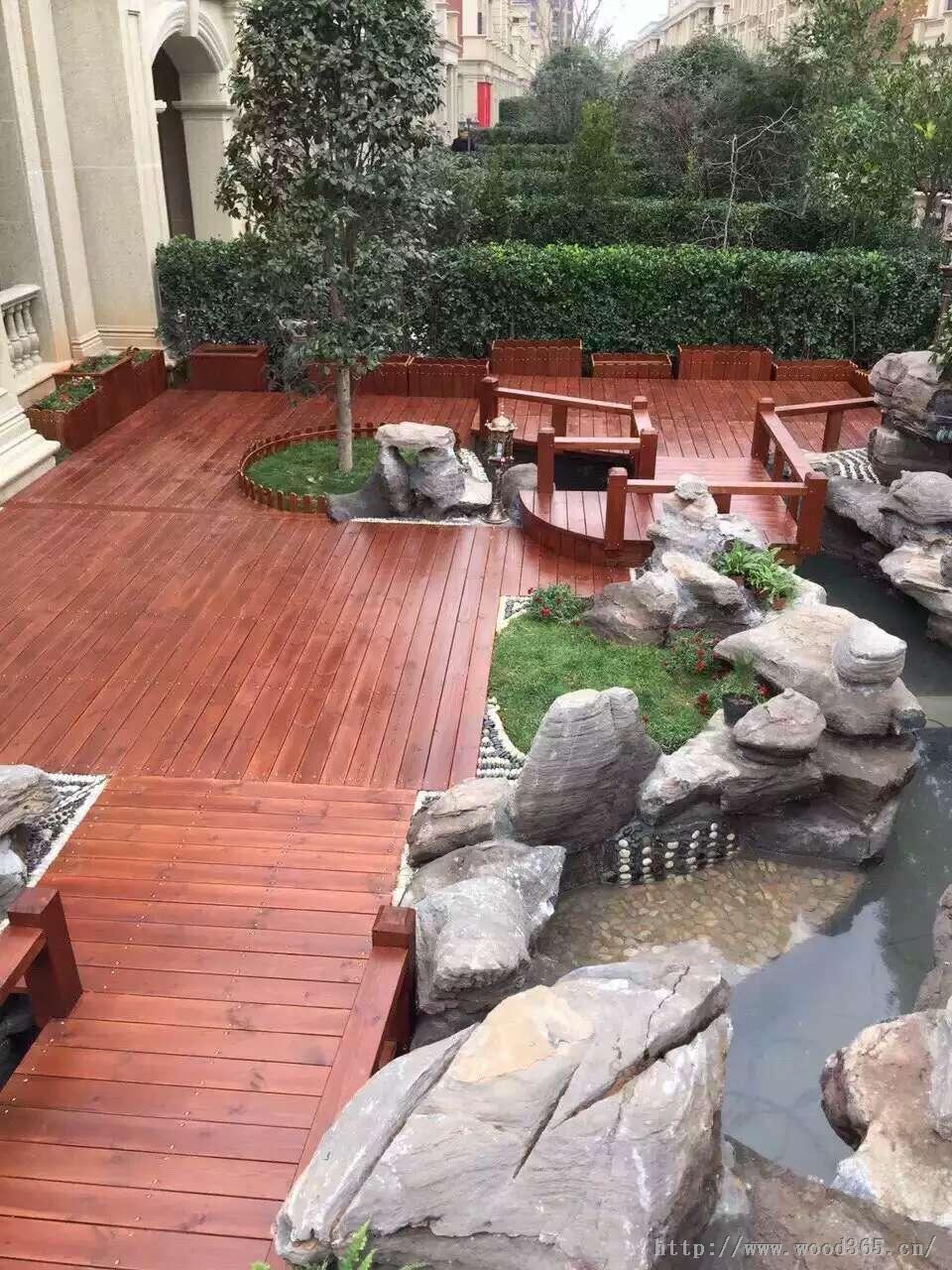 青岛防腐木户外庭院木地板、拼花木地板、户外木质平台安装施工