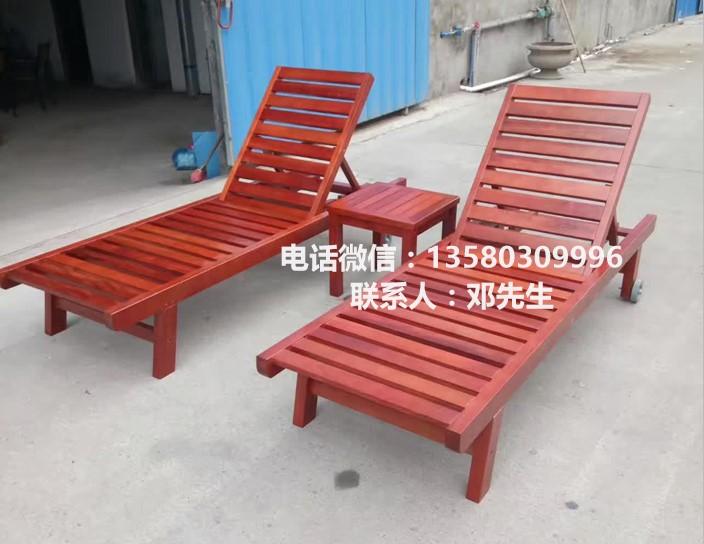 户外沙滩椅厂家 泳池木制躺椅