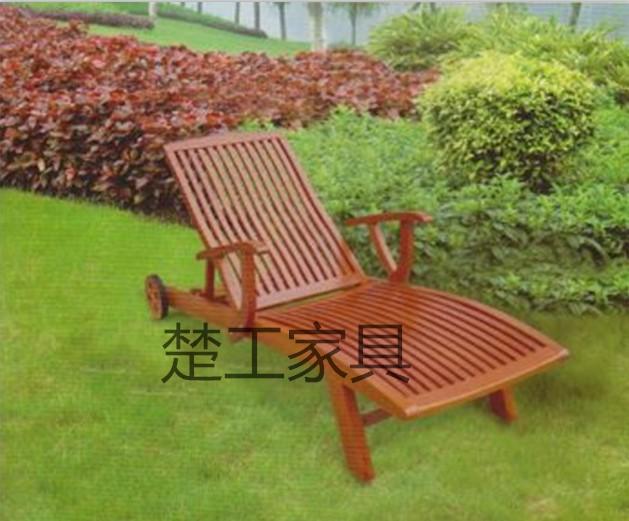 游泳池休闲椅 木质躺床 沙滩椅