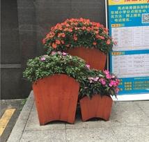 木制移动花箱组合,市政防腐木花盆定制款式