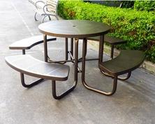 校区木制金属铁艺休闲桌椅,景点餐区连体桌椅