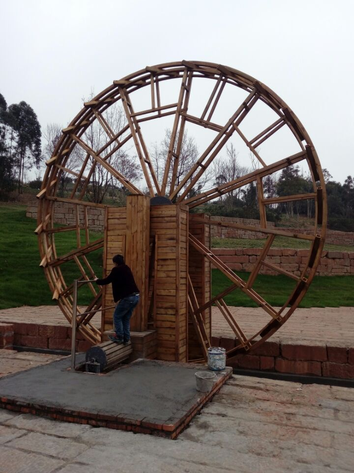 成都景观实木水车、防腐木水车厂家